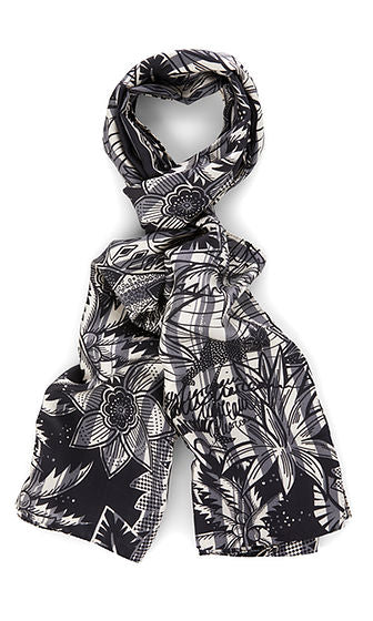 Long Print Silk Scarf-Scarf-Jenny's Boutique