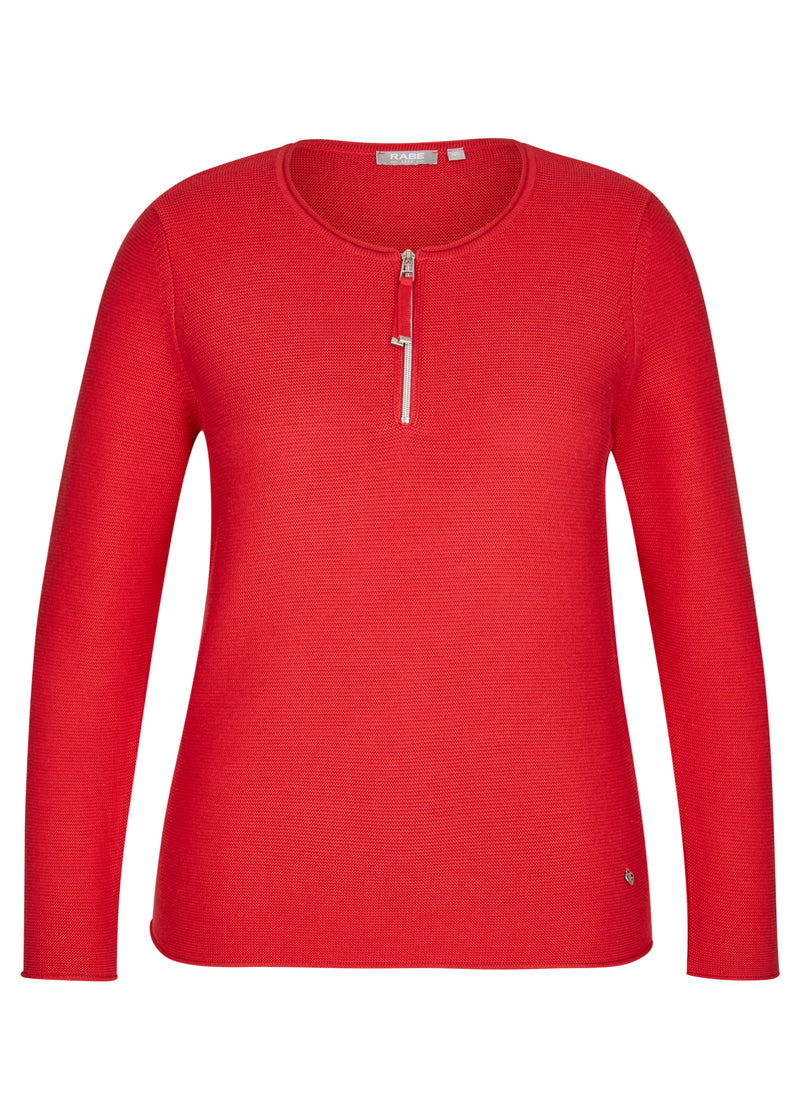 Red Zip Sweater-Top-Jenny's Boutique