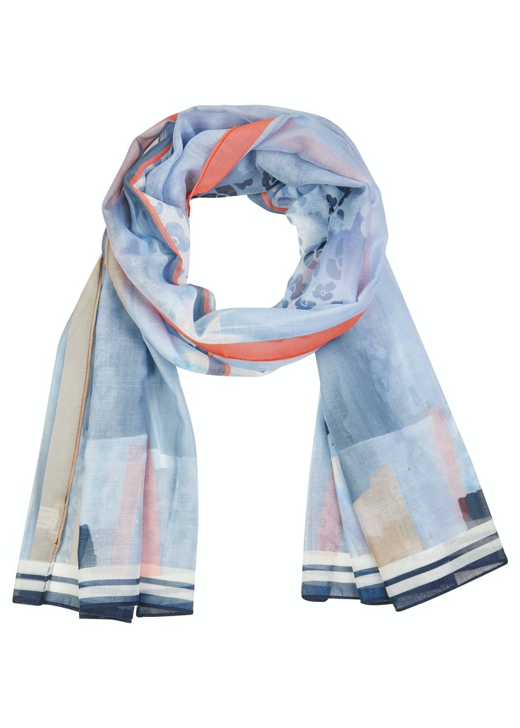 Print Scarf with Navy Trim-Scarf-Jenny's Boutique