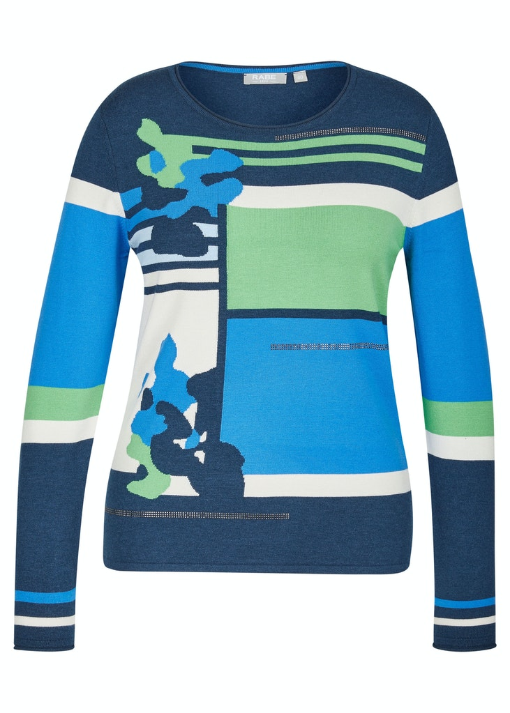 Blue and Green Print Sweater-Sweater-Jenny's Boutique