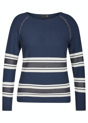 Navy Shimmer Stripe Sweater-Sweater-Jenny's Boutique