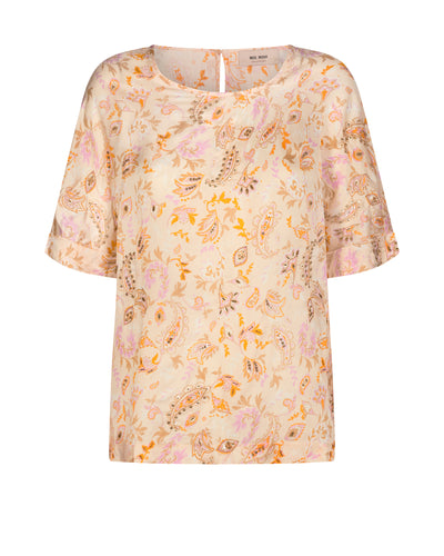 'Palma' Peach Embellished Blouse-Blouse-Jenny's Boutique