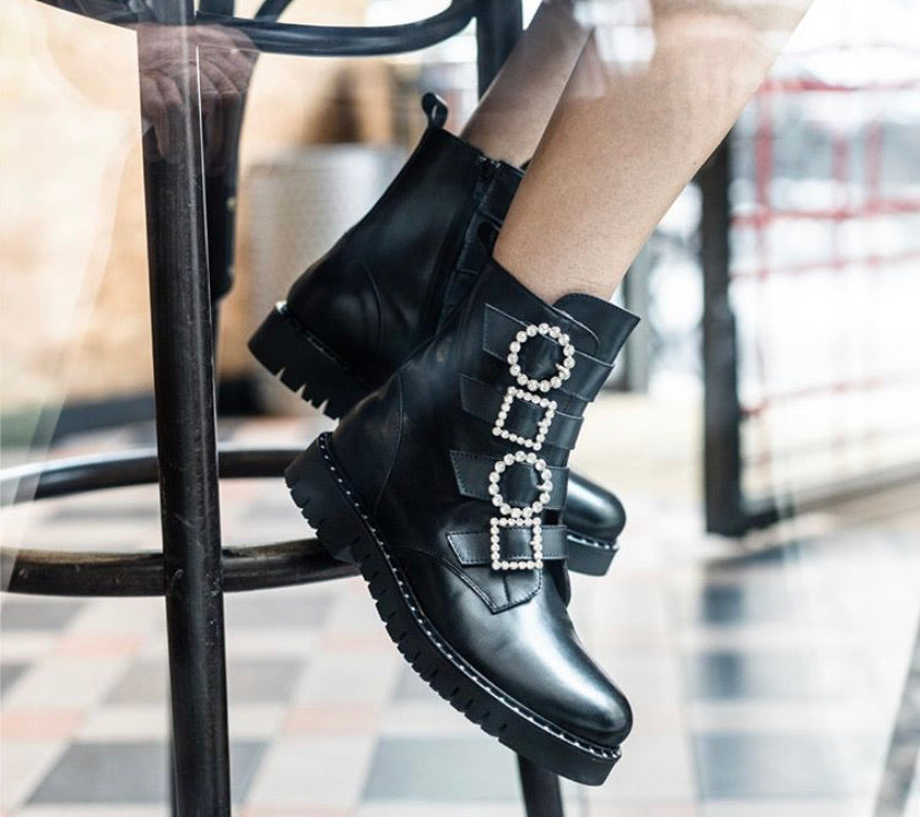 Biker Boot with Diamonte Buckle-Boots-Jenny's Boutique