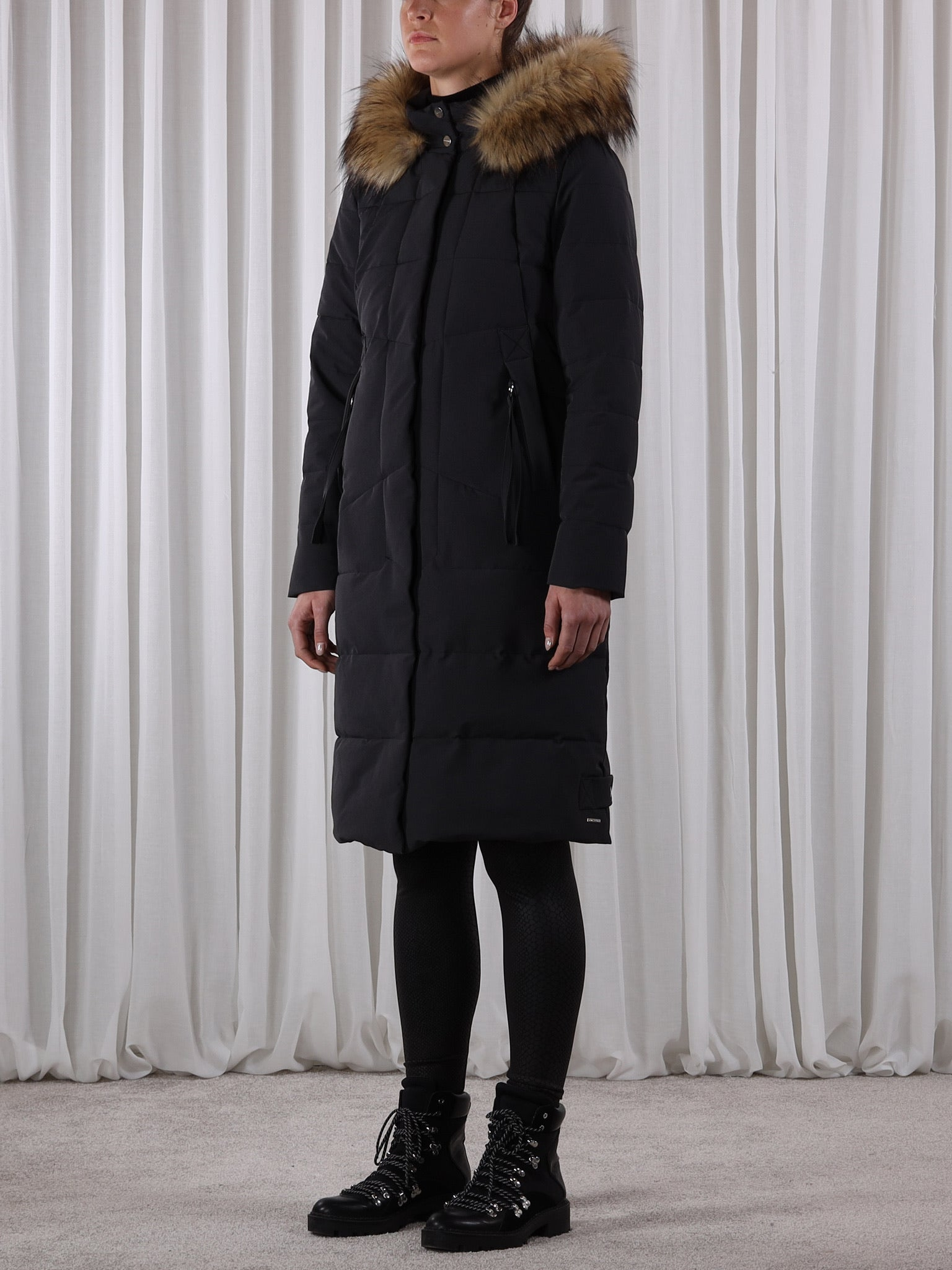 Long Padded Coat with Faux Fur-Coats-Jenny's Boutique