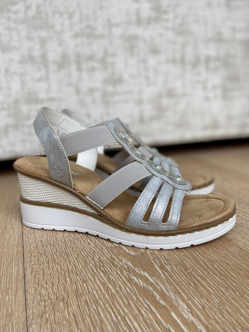Silver Sandal with White Wedge-Wedge-Jenny's Boutique