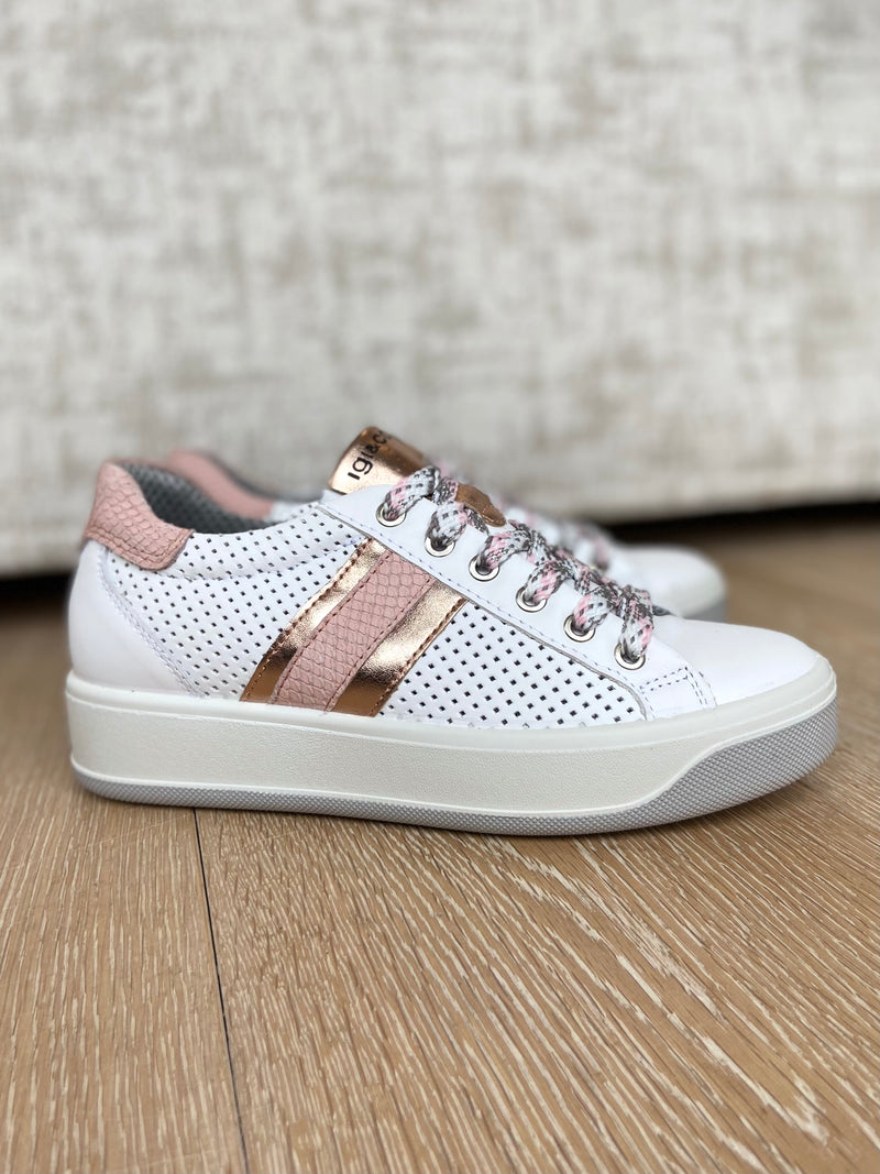 White Trainer with Pink Stripe-Trainer-Jenny's Boutique