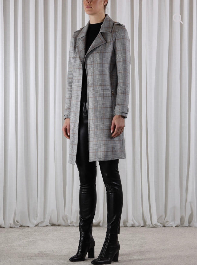 Faux Suede Check Coat-Coats-Jenny's Boutique