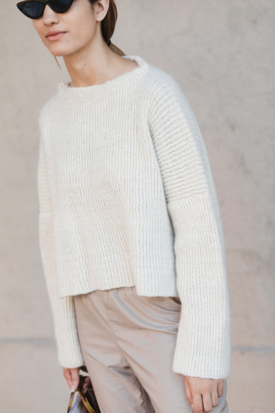 Hand Knit Sweater in Ivory