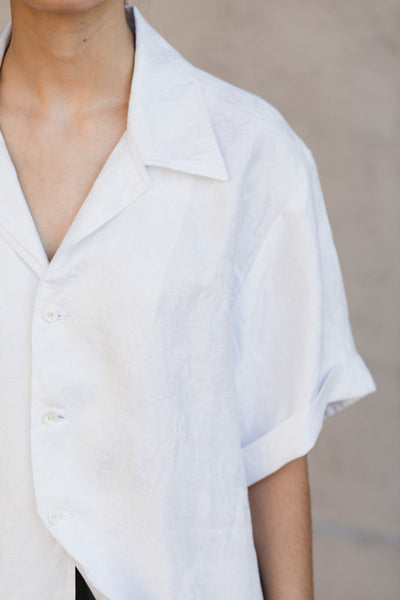 Short Sleeve Boyfriend Button Down Shirt in Vintage White