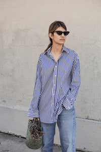 Boyfriend Button Down Shirt in Bold Blue and White Stripe