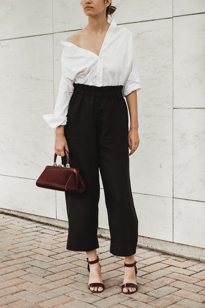 Cuffed Linen Pant in Black, Navy
