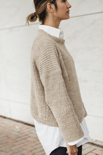 Hand Knit Sweater in Wheat