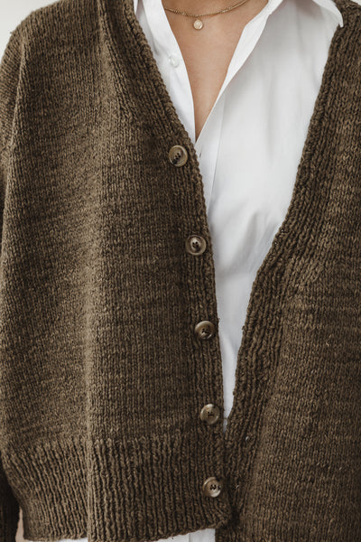 Hand Knit Cardigan in Olive