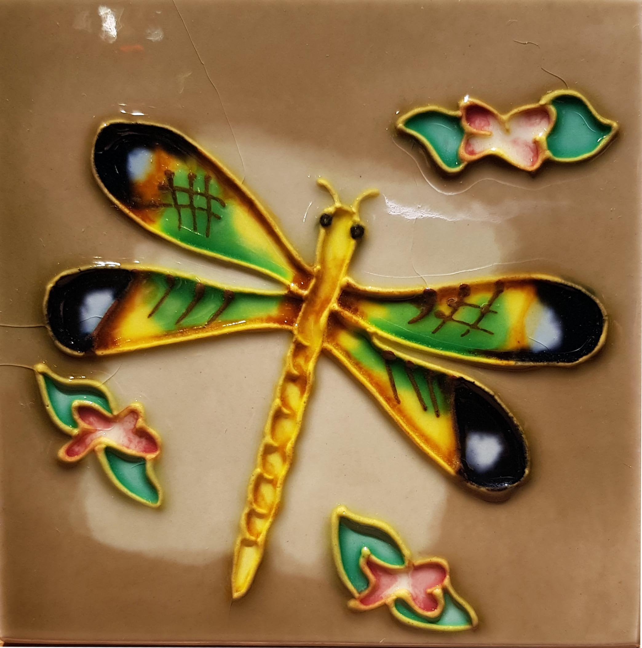 1009 Dragonfly with Red Flower 10cm x 10cm Ceramic Tile