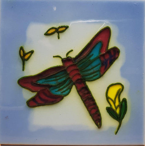 1010 Dragonfly with Yelloq Flower 10cm x 10cm Ceramic Tile