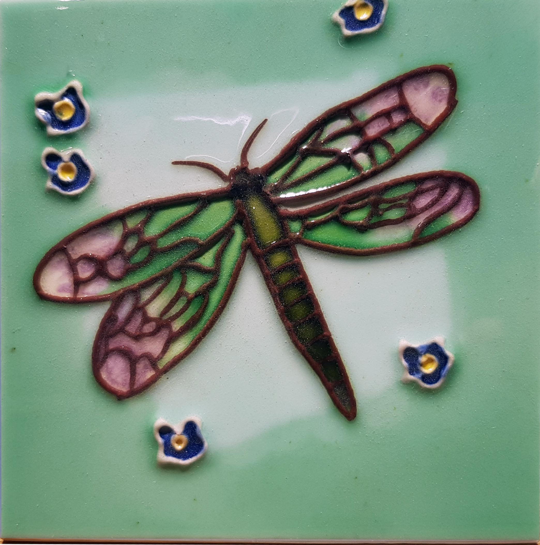 1011 Dragonfly with Blue Flower 10cm x 10cm Ceramic Tile