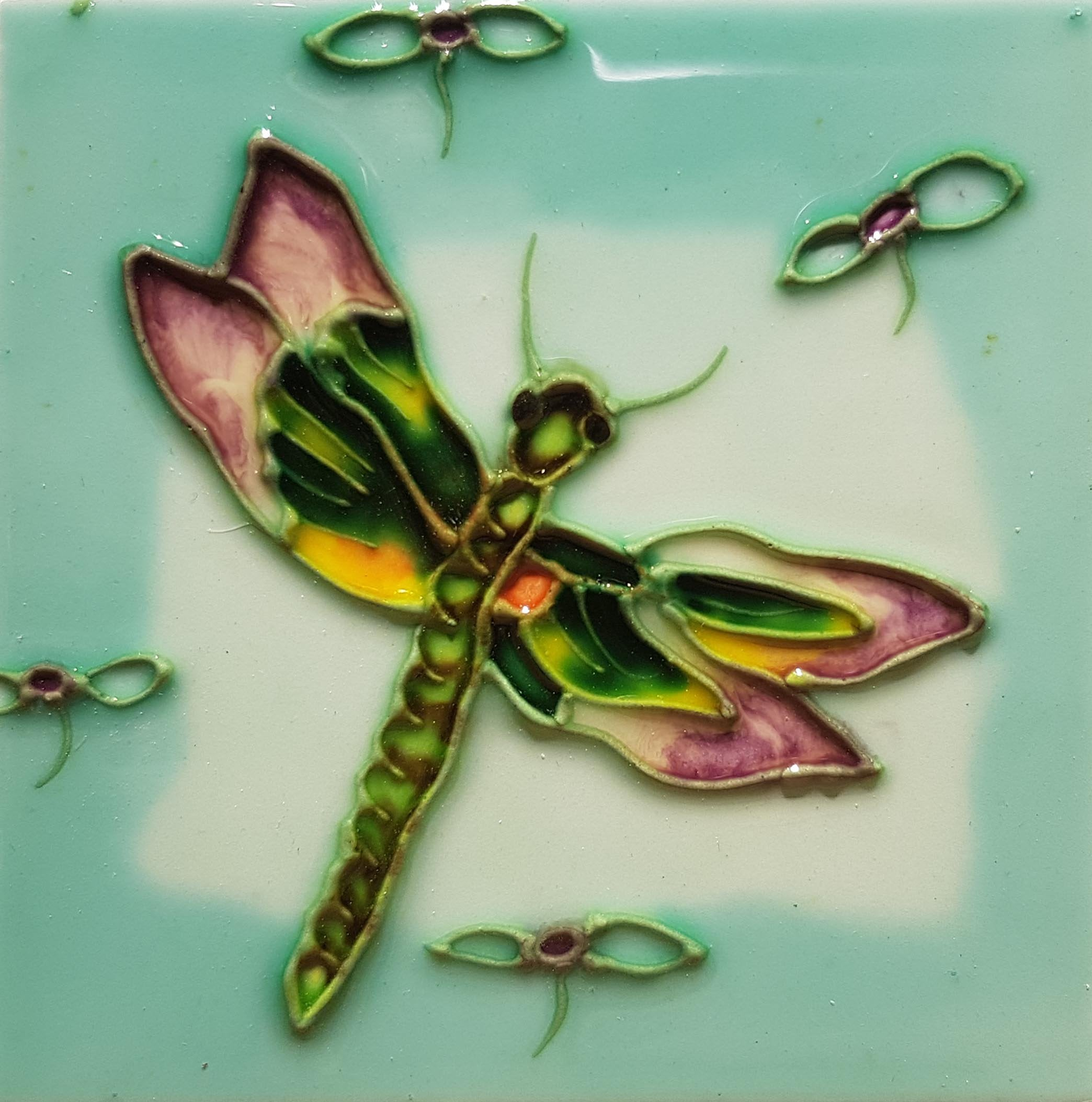 1012 Dragonfly with Purple Flower 10cm x 10cm Ceramic Tile