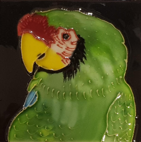 1029 Parrot with Yellow Beak and Green Top 10cm x 10cm Ceramic Tile