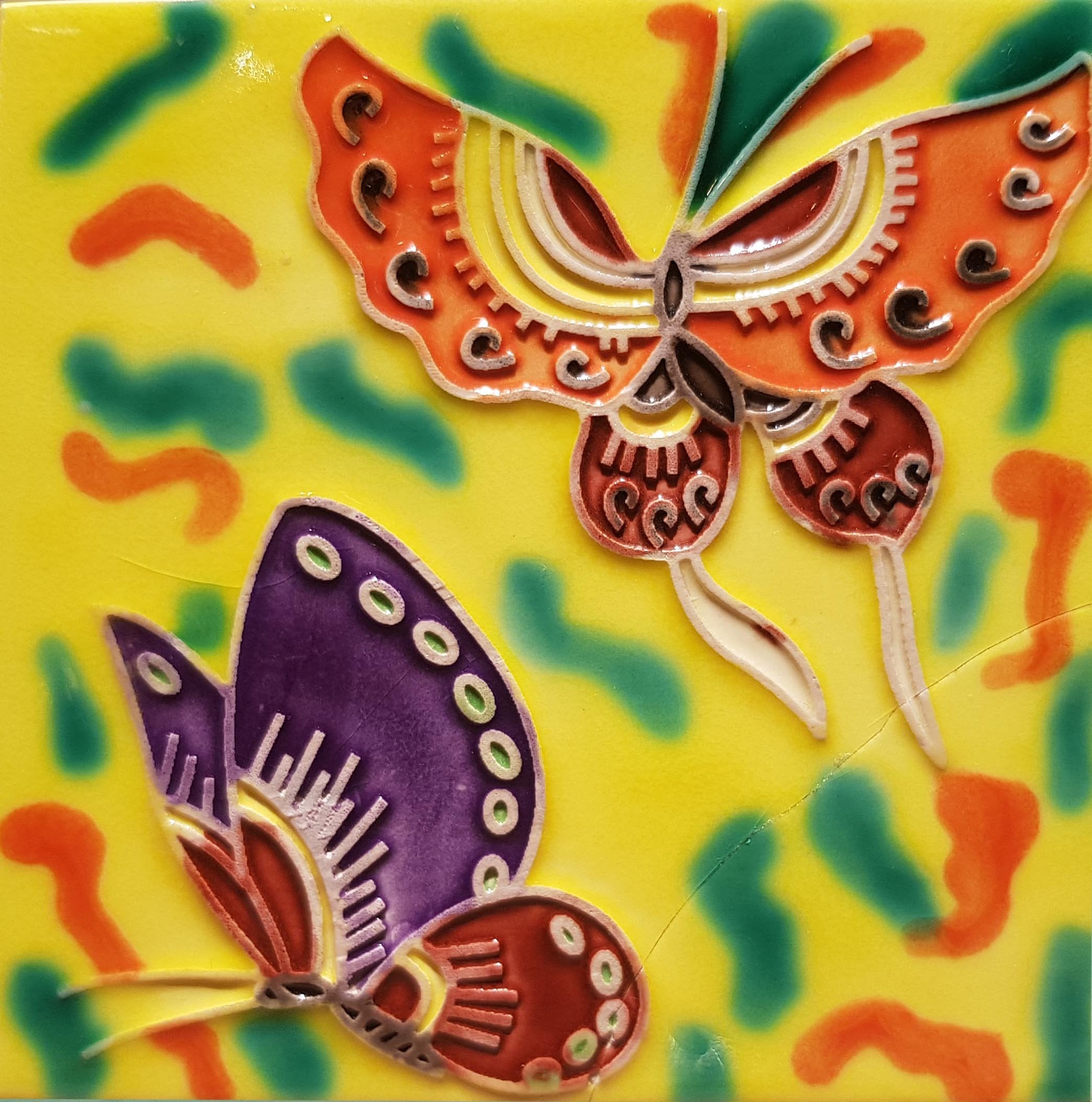 1035 Duo Butterflies with Yellow Base 10cm x 10cm Ceramic Tile