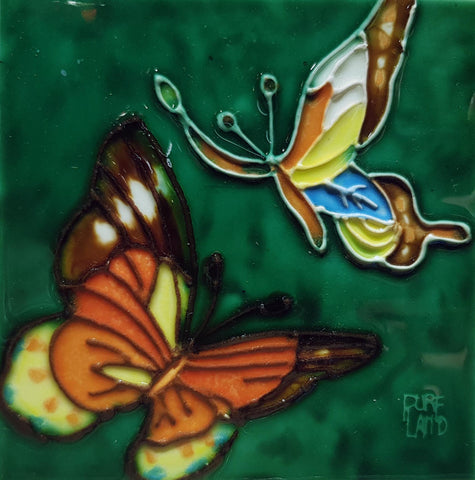 1036 Duo Butterflies with Green Base 10cm x 10cm Ceramic Tile