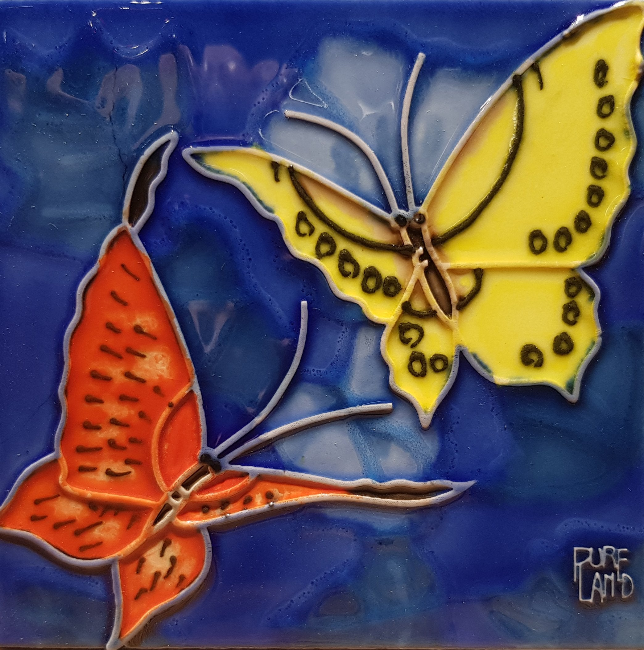 1038 Duo Butterflies with Blue Base 10cm x 10cm Ceramic Tile