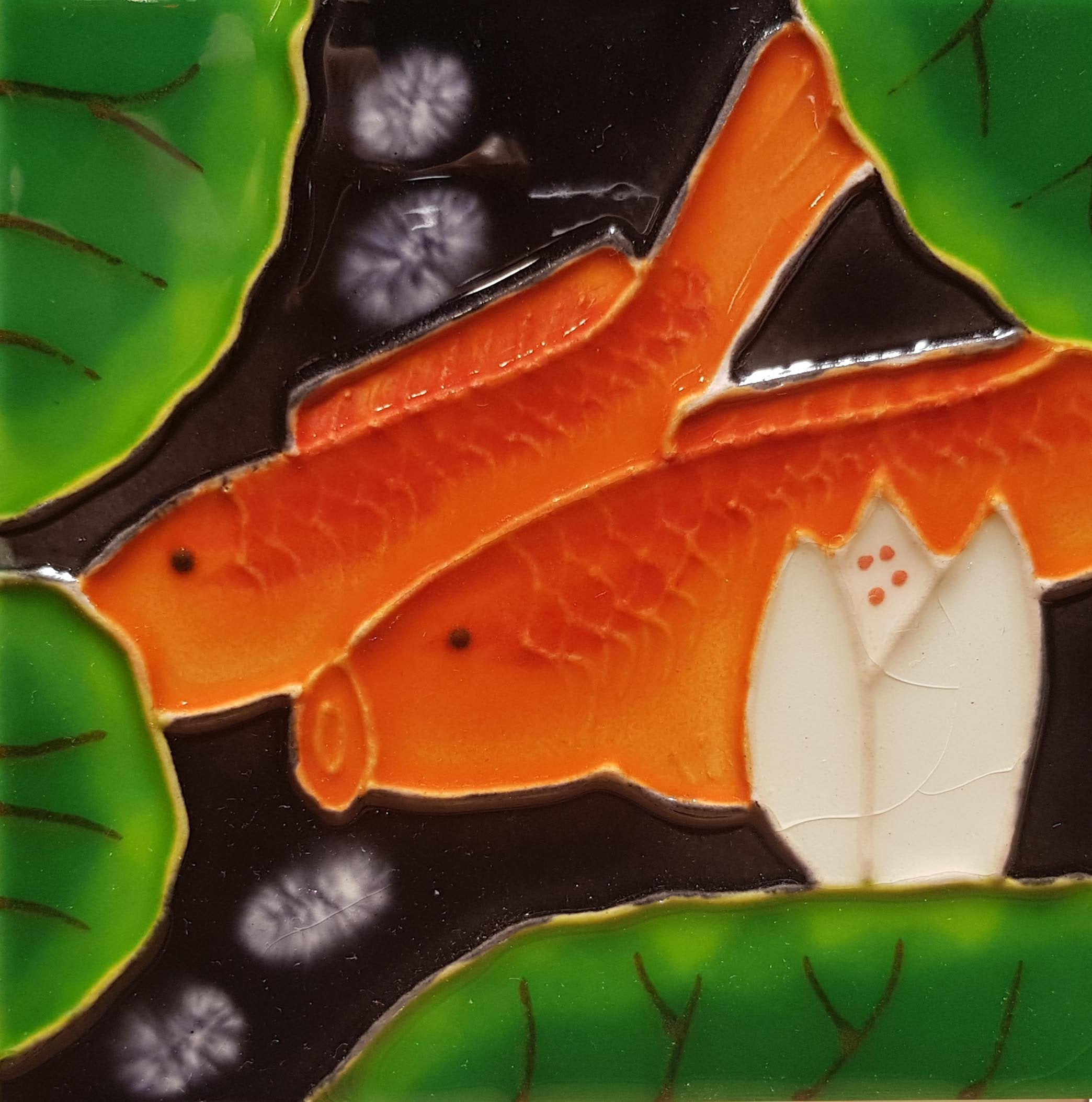 1082  Lotus with Carp Left Profile 2 10cm x 10cm Ceramic Tile