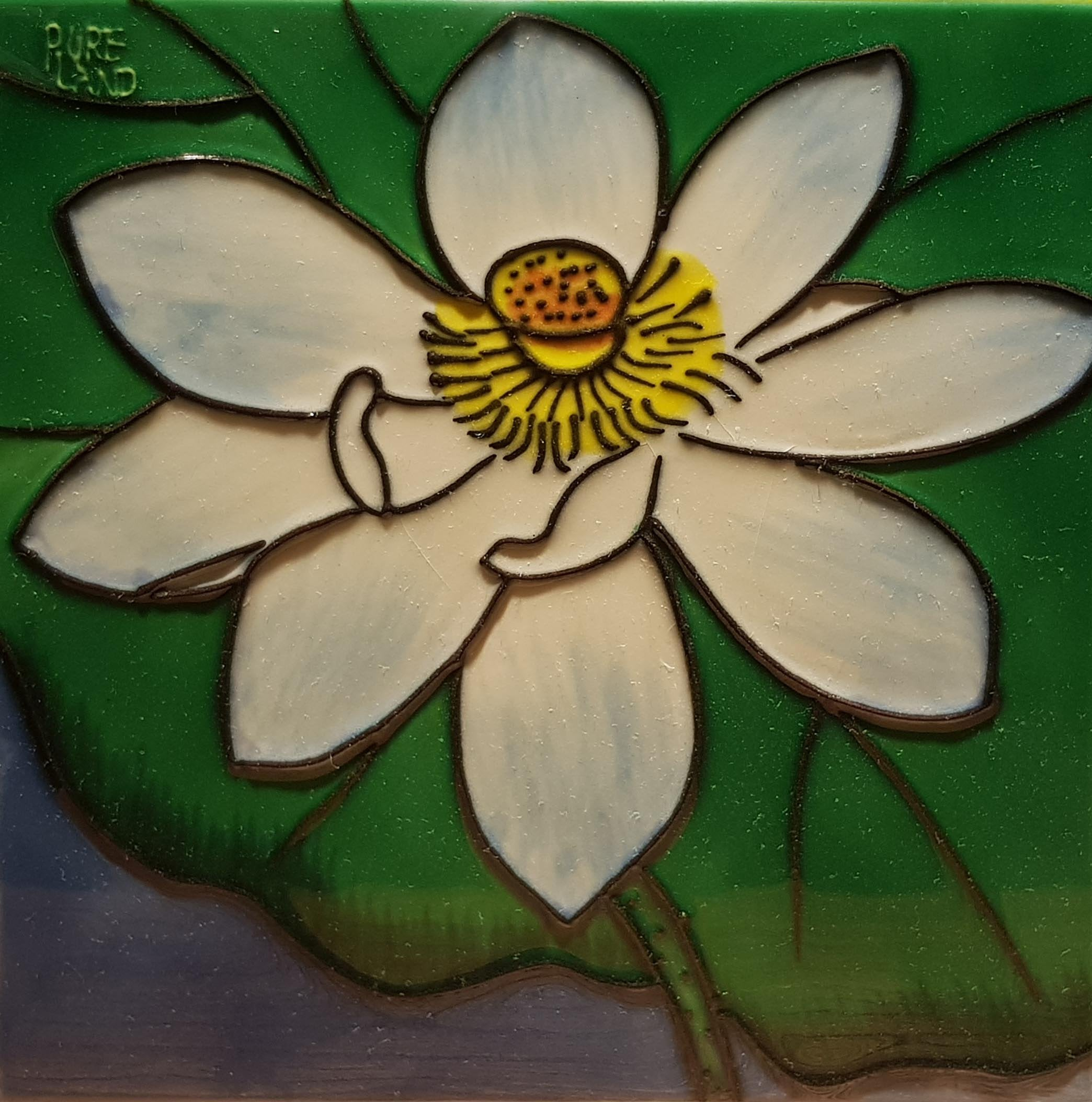2291 Jade White Lotus Flower 20cm x 20cm Ceramic Tile