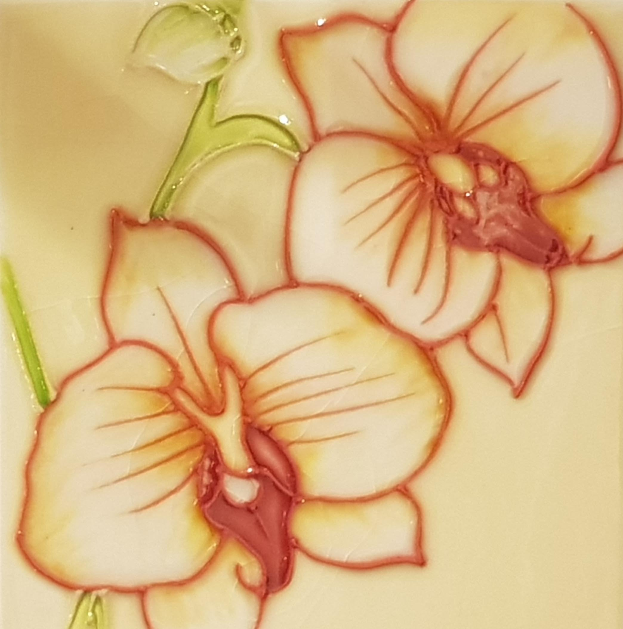 1110 Yellow Butterly Orchid 10cm x 10cm Ceramic Tile