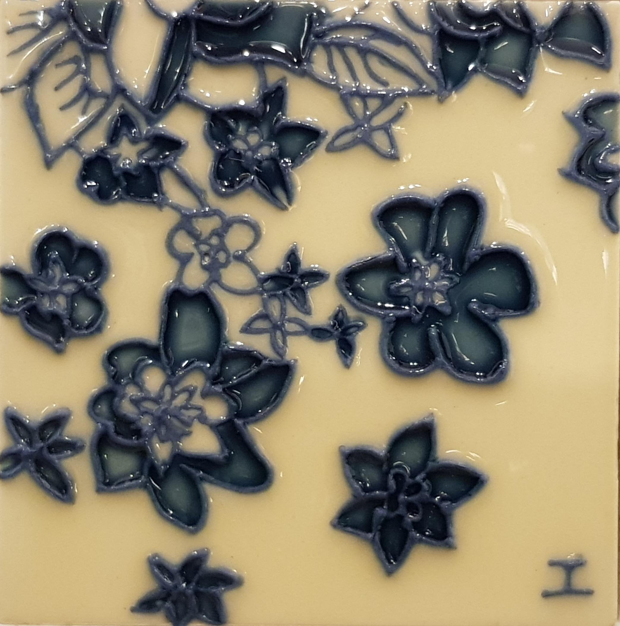 1133 Flowers 10cm x 10cm Ceramic Tile