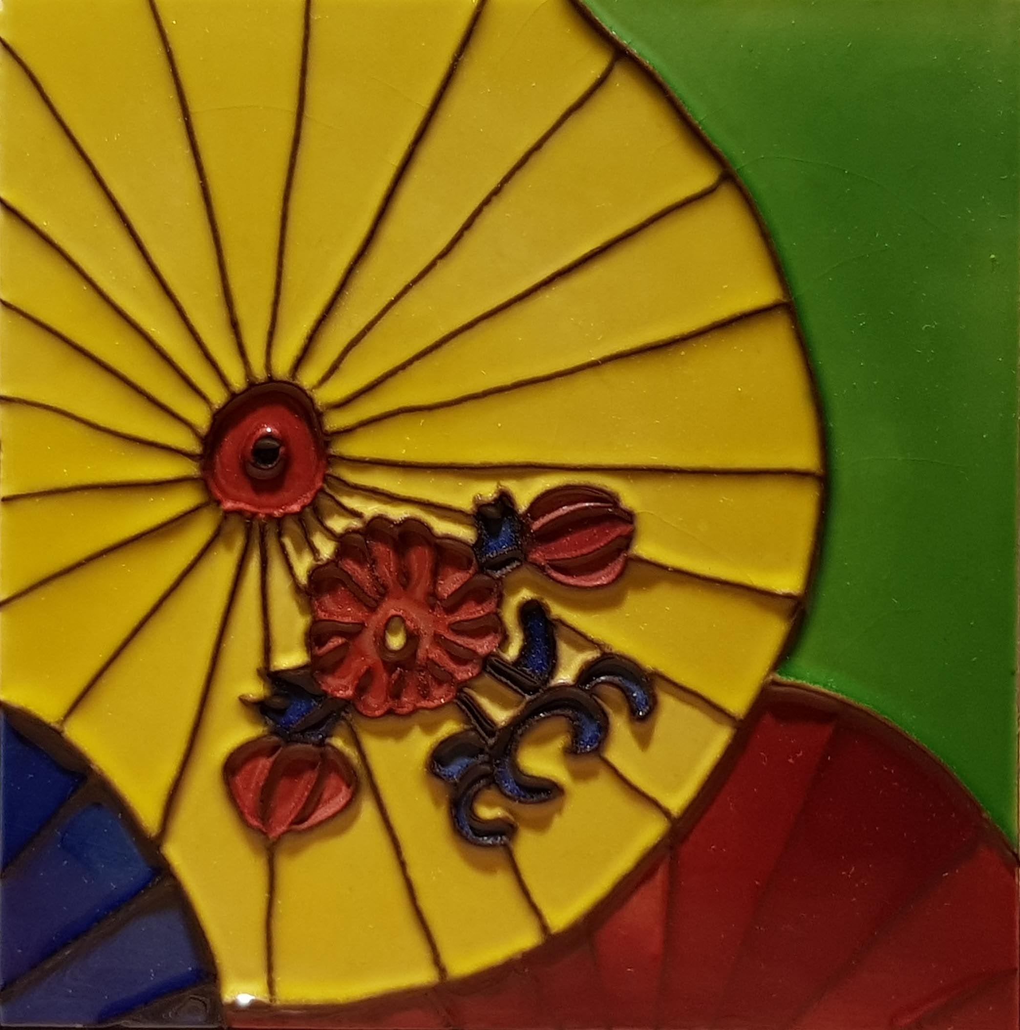 2127 Yellow Umbrella 20cm x 20cm Ceramic Tile