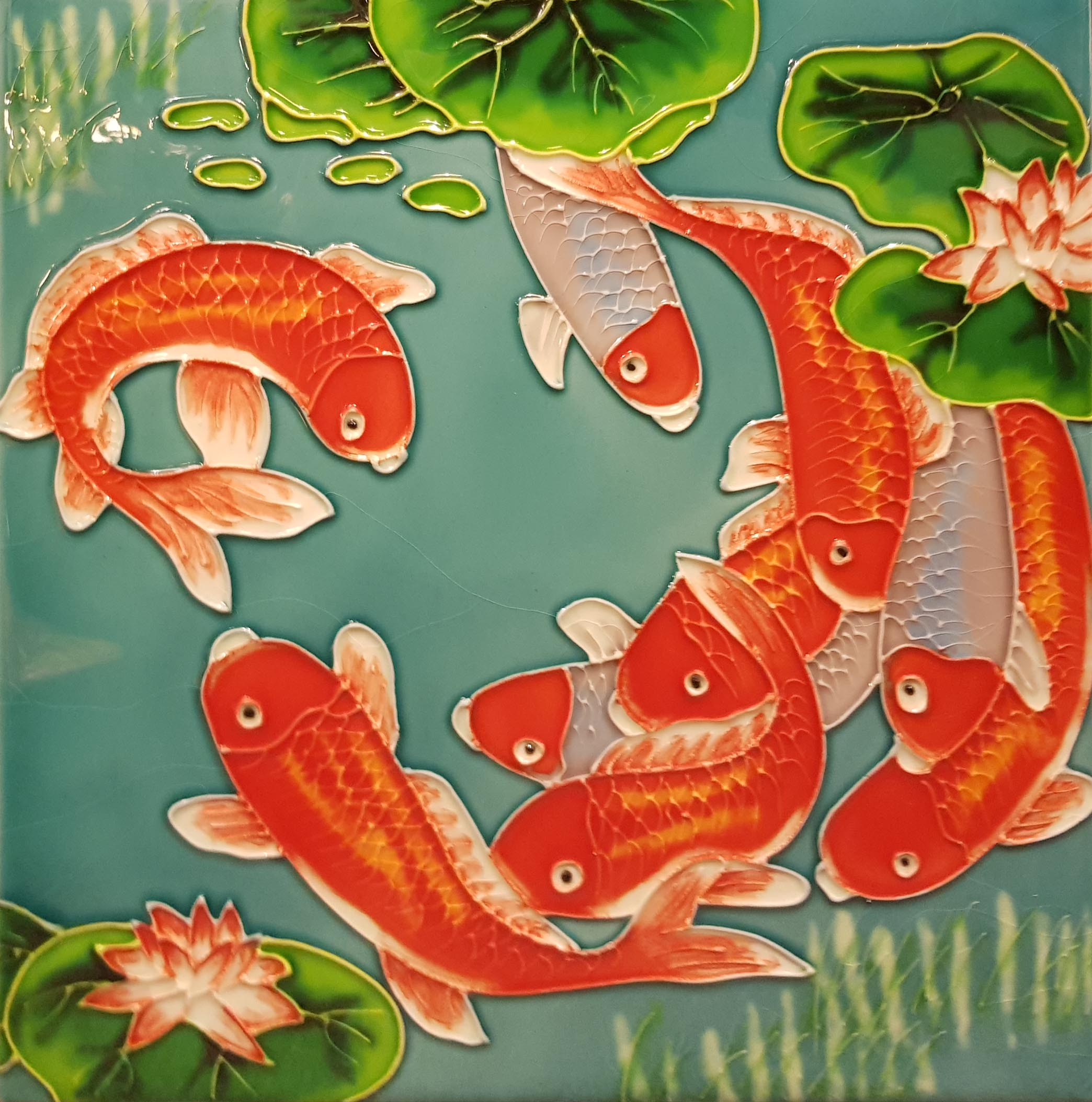 2012 Koi with Green Background 20cm x 20cm Ceramic Tile