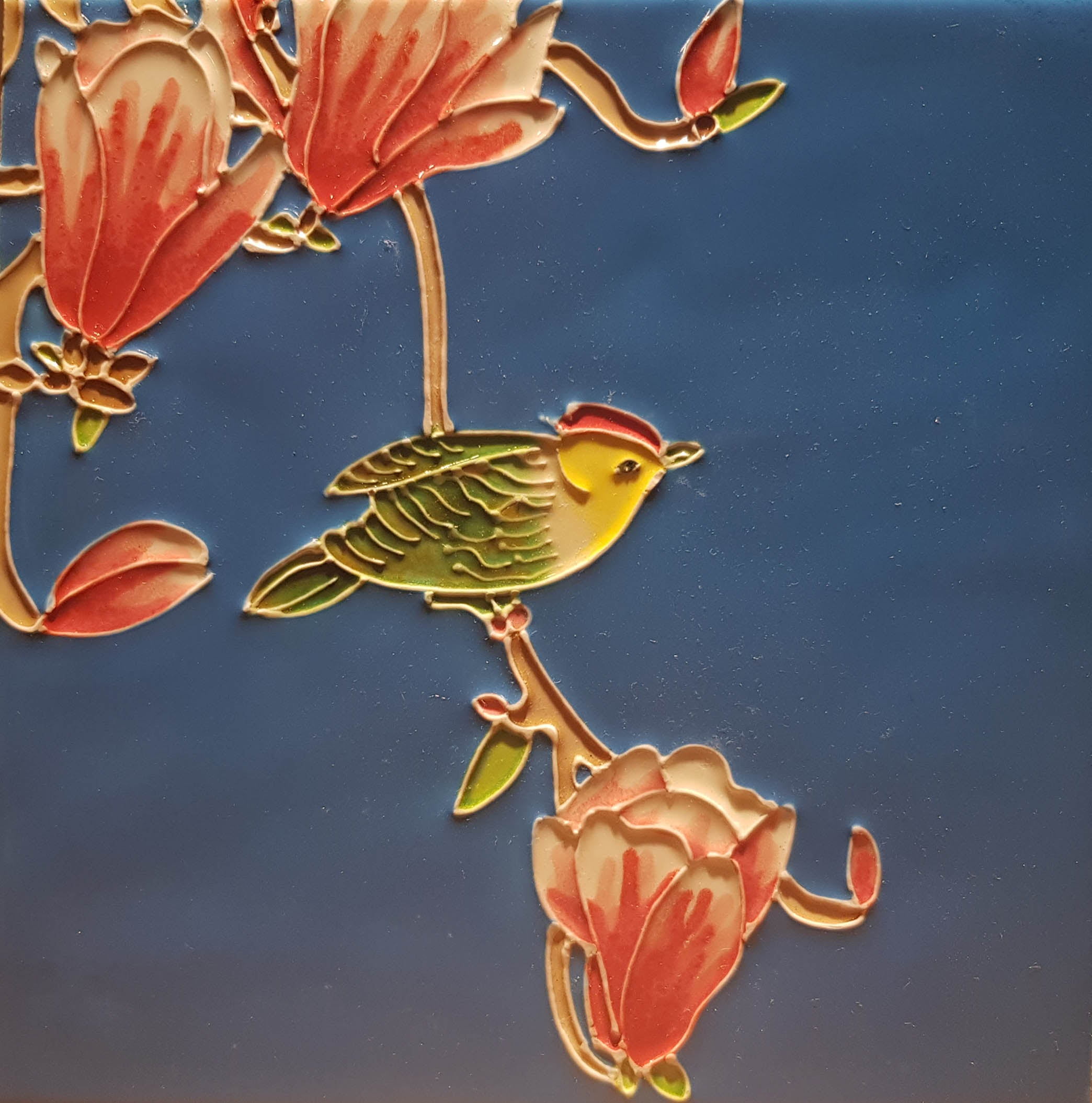 2141 Bird with Red Orchid 20cm x 20cm Ceramic Tile