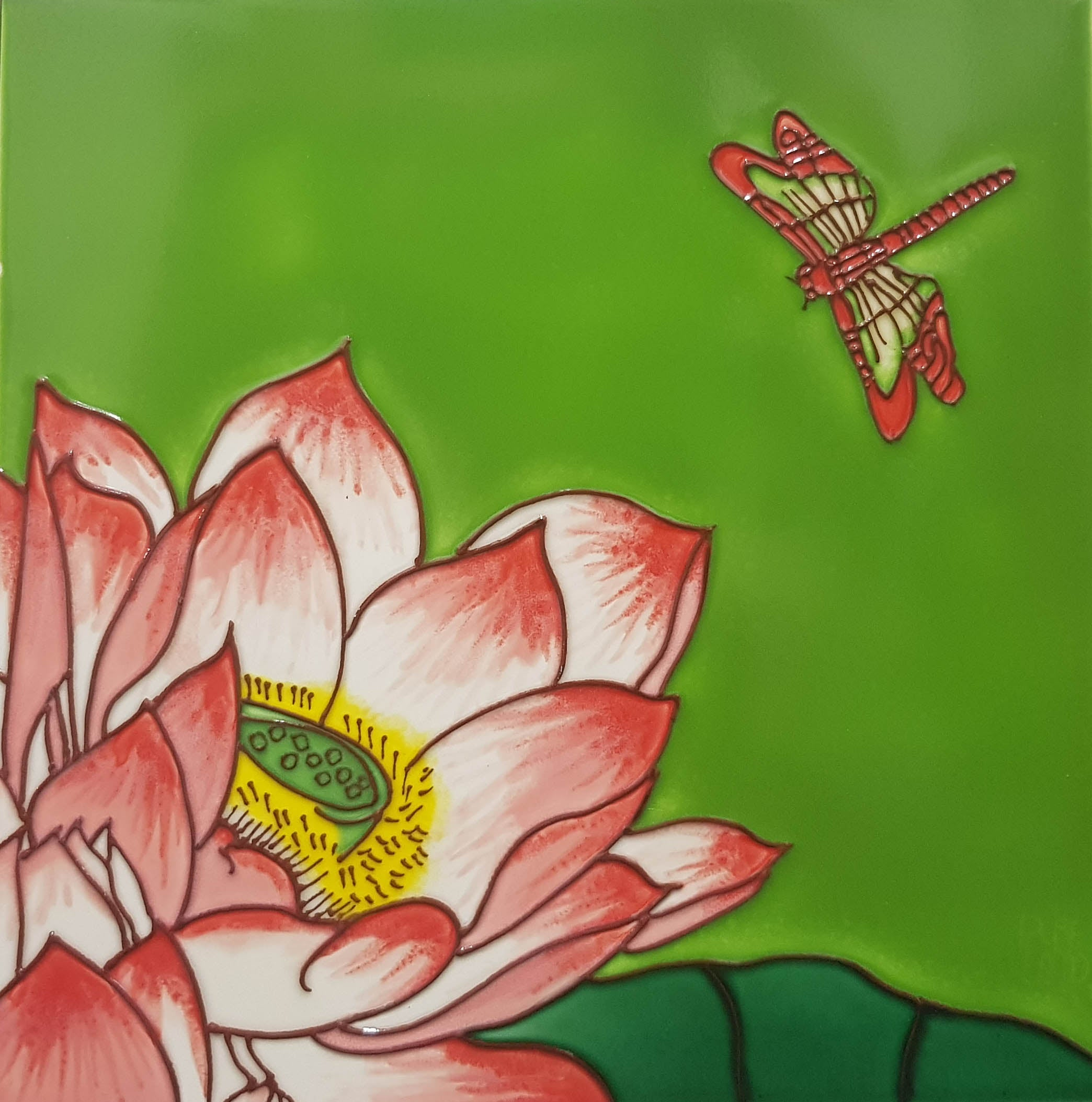 2164 Lotus Flower with Dragonfly Top Right 20cm x 20cm Ceramic Tile