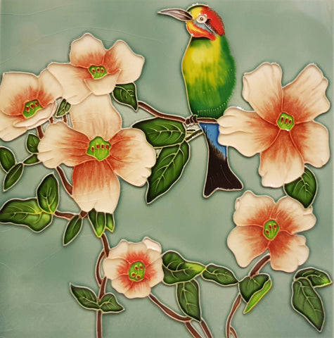 3527 Hibiscus and Kingfisher 30cm x 30cm Ceramic Tile