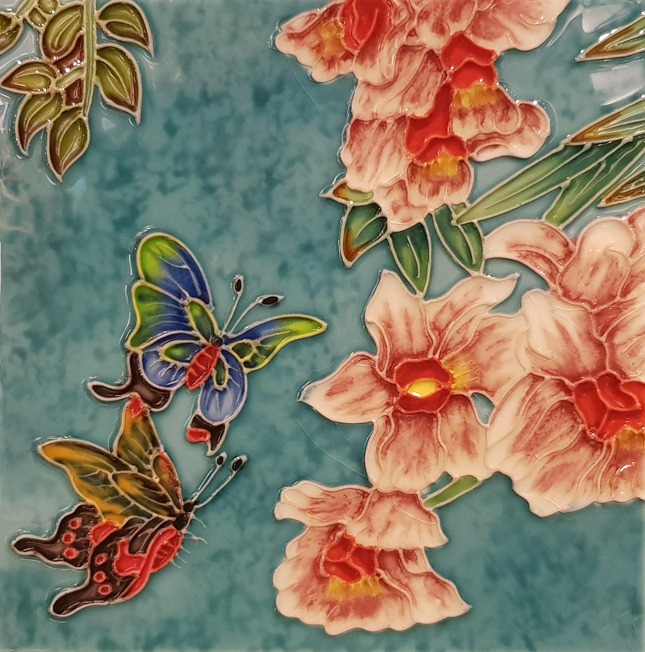 2184 Orchid and Butterfly 20cm x 20cm Ceramic Tile