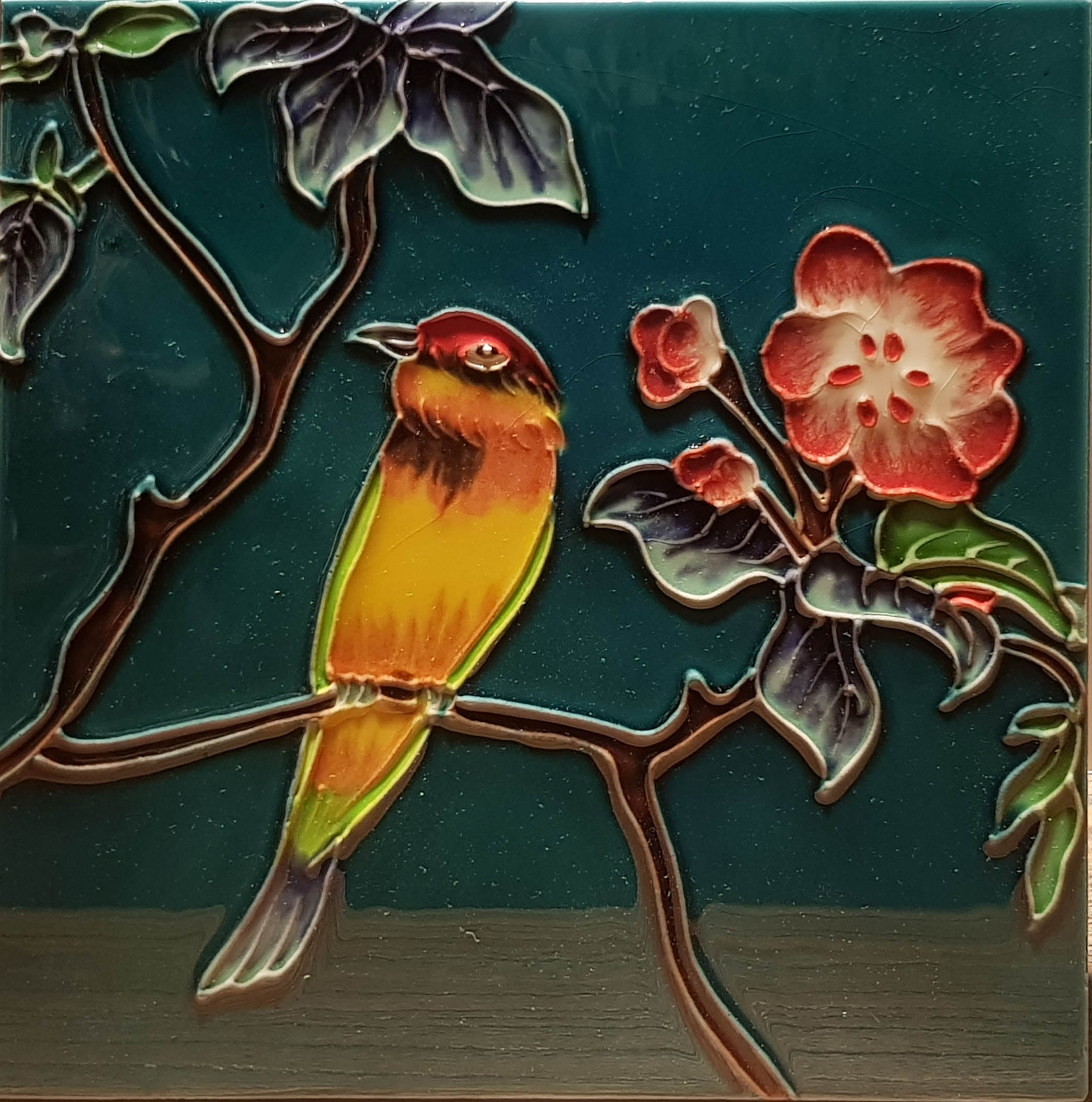 2295 Hibiscus and Bird 20cm x 20cm Ceramic Tile