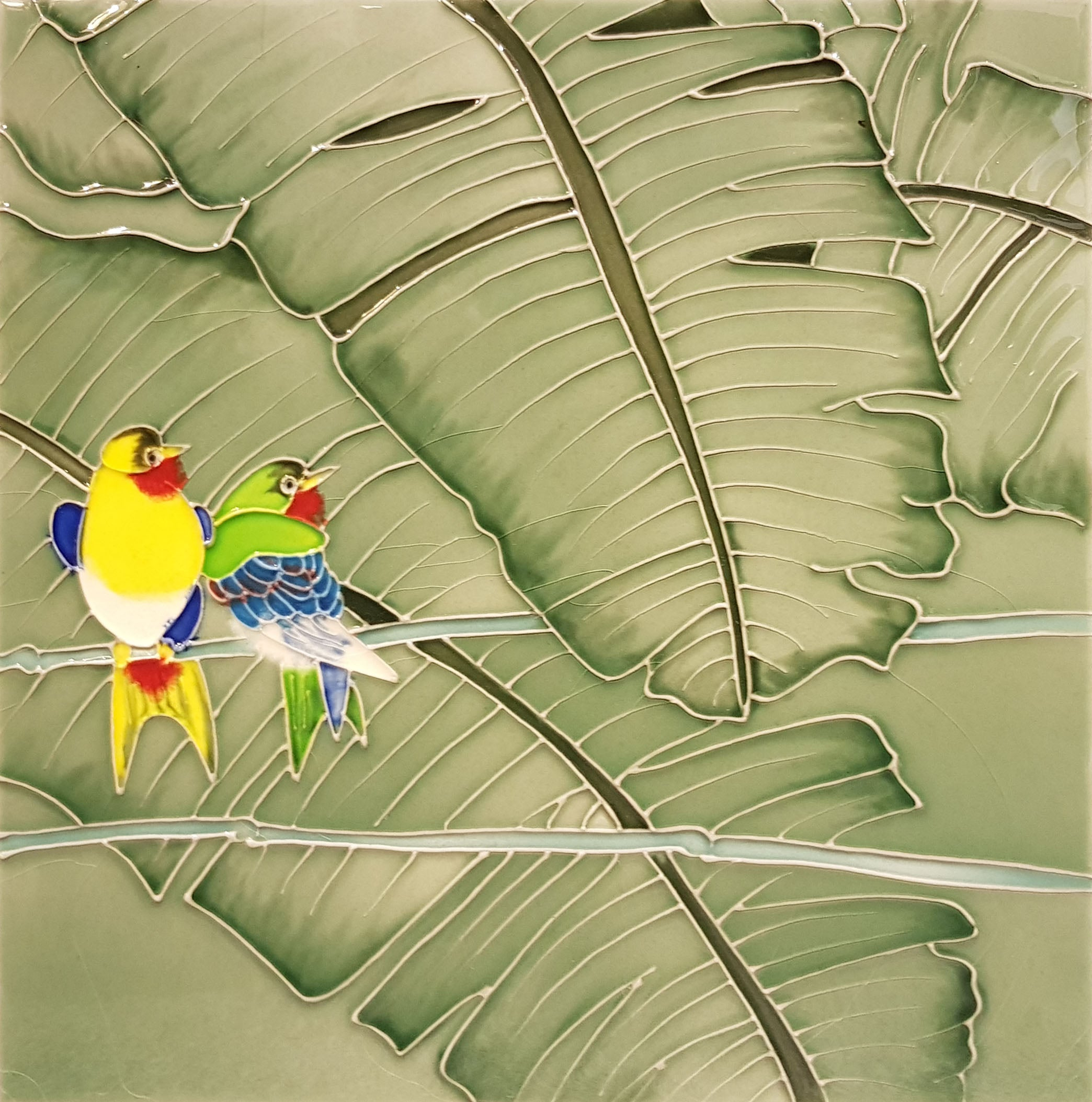 3503 Flying Bird - Pale Green 30cm x 30cm Ceramic Tile