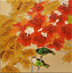 3504 Flying Bird - Red Flower 30cm x 30cm Ceramic Tile