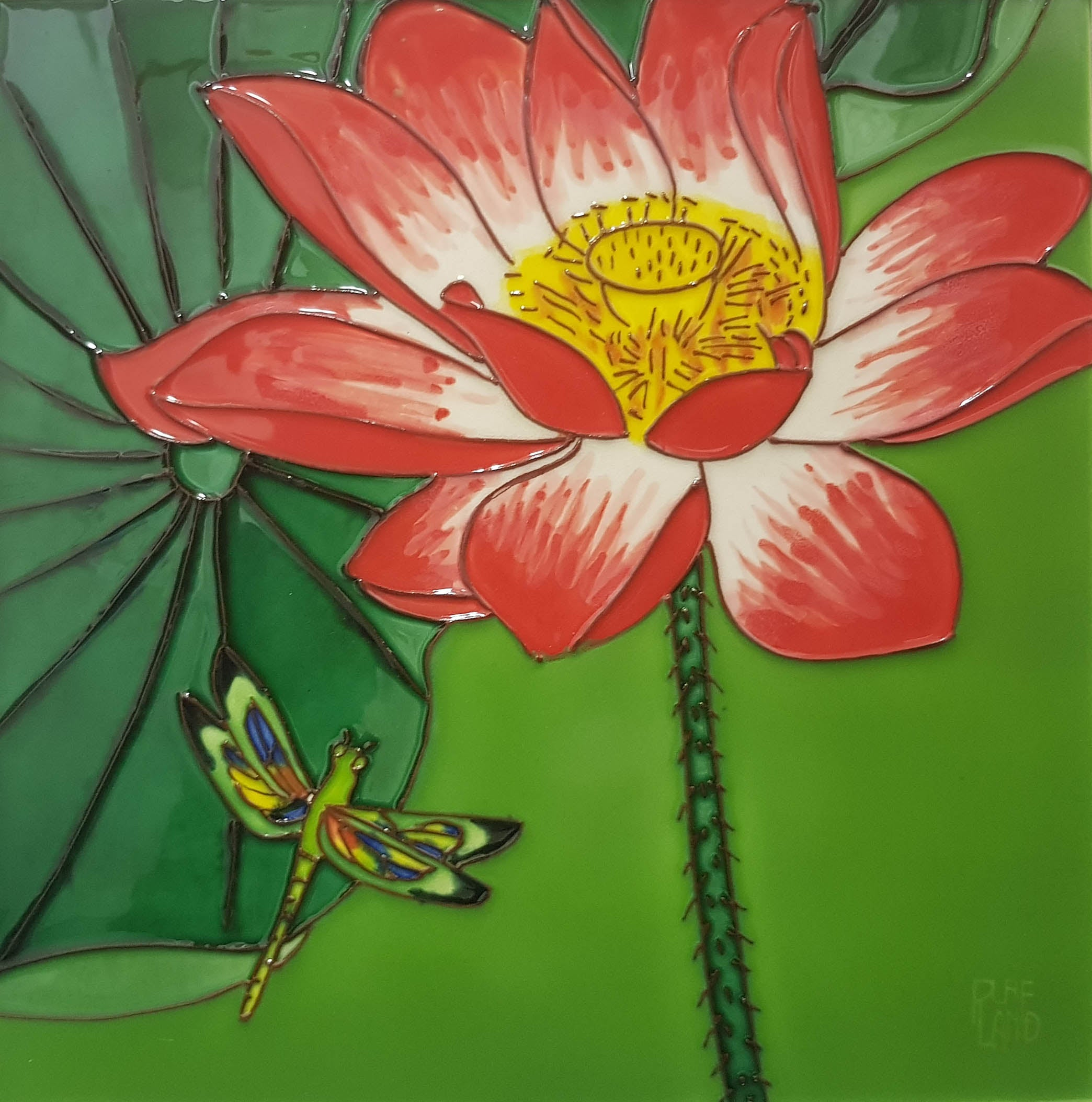 3521 Lotus Flower with Dragonfly Bottom Left 30cm x 30cm Ceramic Tile