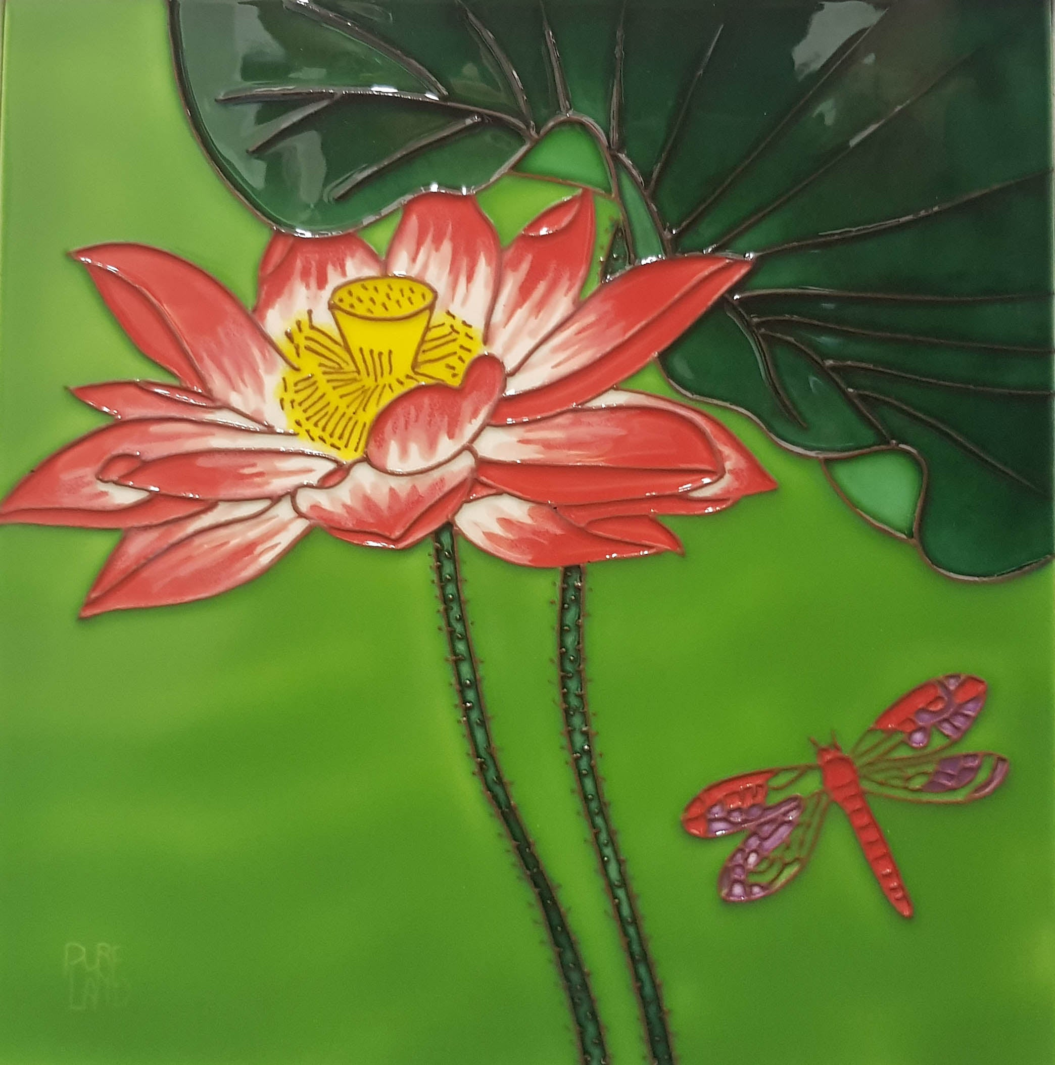 3522 Lotus Flower with Dragonfly Bottom Right 30cm x 30cm Ceramic Tile
