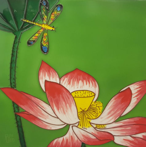 3523 Lotus Flower with Dragonfly Top Left 30cm x 30cm Ceramic Tile