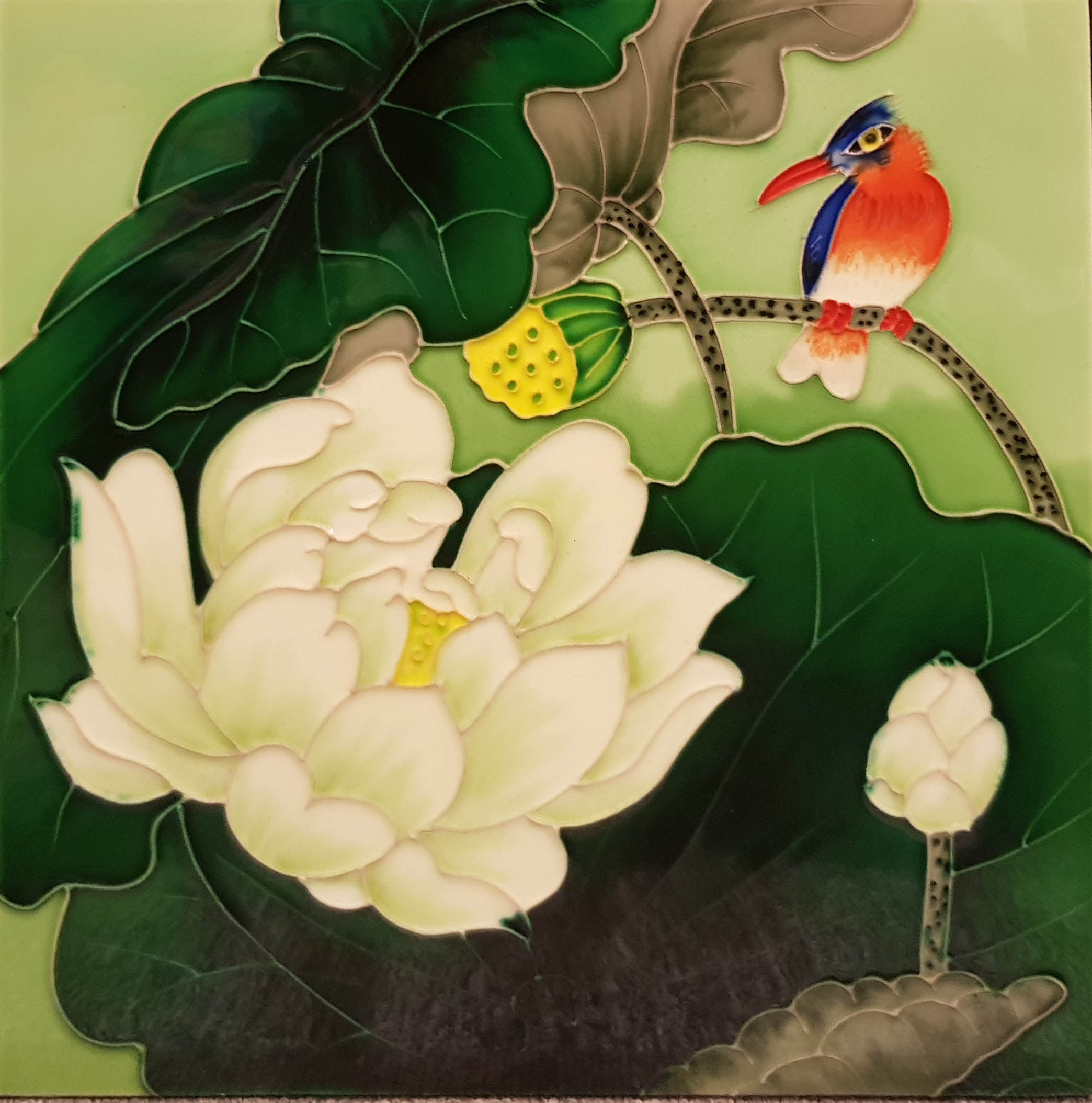3526 Lotus Flower with Red Bird Green Background 30cm x 30cm Ceramic Tile