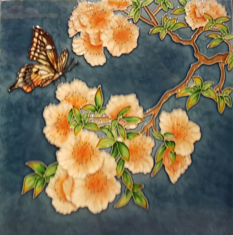 3529 Orchid and Butterfly 30cm x 30cm Ceramic Tile
