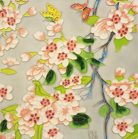 3532 Begonia Flower and Butterfly 30cm x 30cm Ceramic Tile