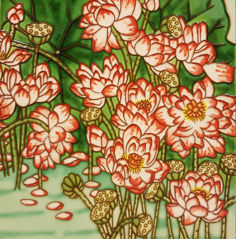 3535 Lotus Pond with Red Lotus 30cm x 30cm Ceramic Tile