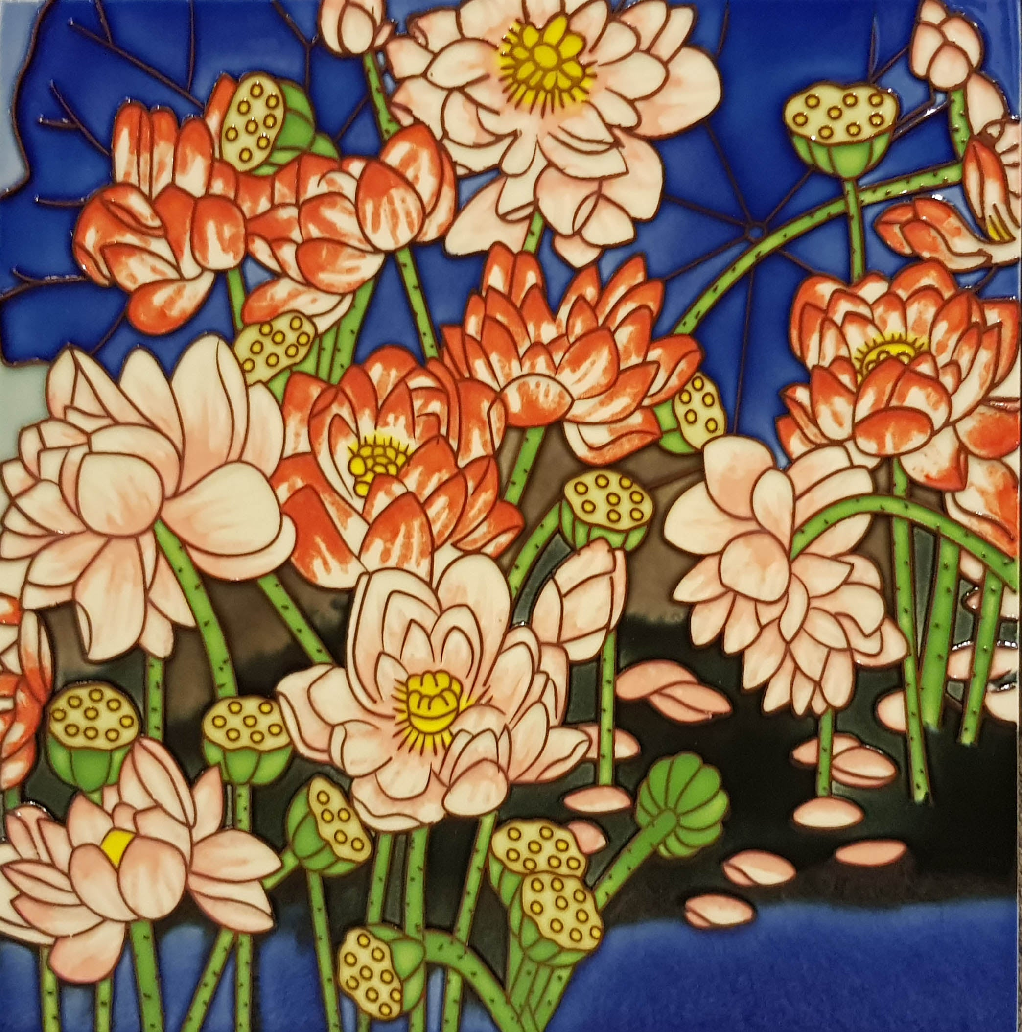 3536 Lotus Pond with Colored Lotus 30cm x 30cm Ceramic Tile