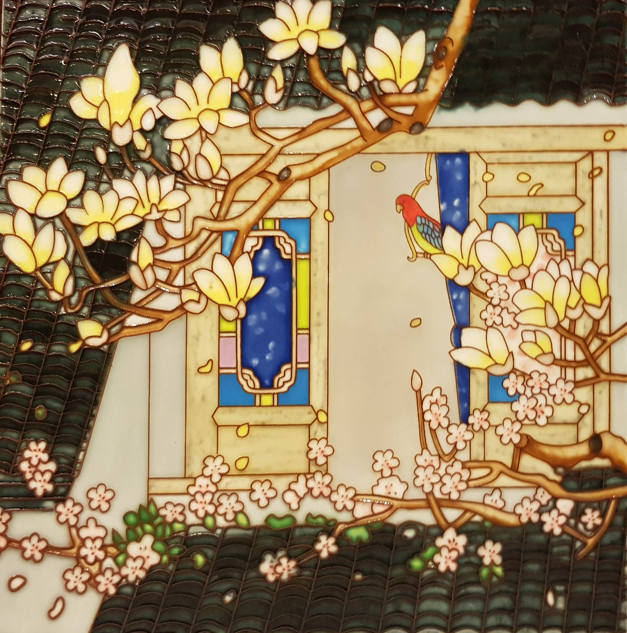 3539 Colored Window with Red Bird 30cm x 30cm Ceramic Tile
