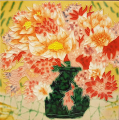 3551 Green Vase with Red Flowers 30cm x 30cm Ceramic Tile