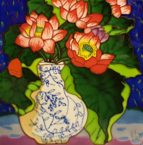 3552 Blue Vase with Lotus Flowers 30cm x 30cm Ceramic Tile