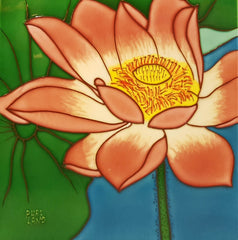 3568 Lotus Flower - Right with Blue Background  30cm x 30cm Ceramic Tile